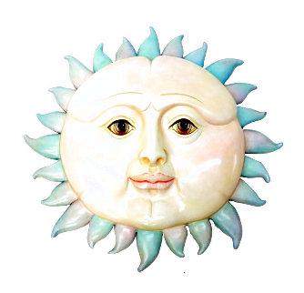 Smiling Sun Resin Sculpture Embellished 33 in  Sculpture - Sergio Bustamante