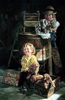Free Clean Puppies 1994 Super Huge Limited Edition Print - Bob Byerley