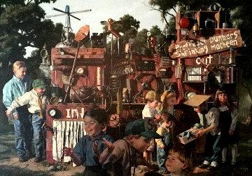 Incredible Shrinking Machine 1997 48x60 Huge  Original Painting - Bob Byerley