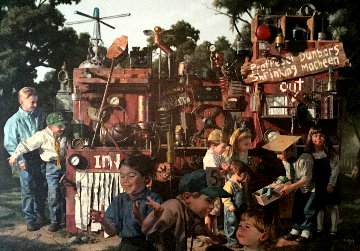 Incredible Shrinking Machine 1997 48x60 Super Huge  Original Painting - Bob Byerley