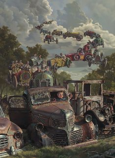 Checkered Flag Embellished  Limited Edition Print by Bob Byerley