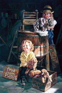 Free Clean Puppies AP 2002 Embellished Limited Edition Print - Bob Byerley