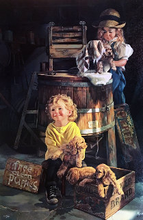 Free Clean Puppies 1994 Limited Edition Print by Bob Byerley