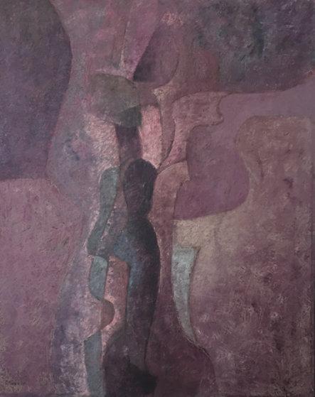 Untitled Figure 1980 29x35 Original Painting by Byron Galvez