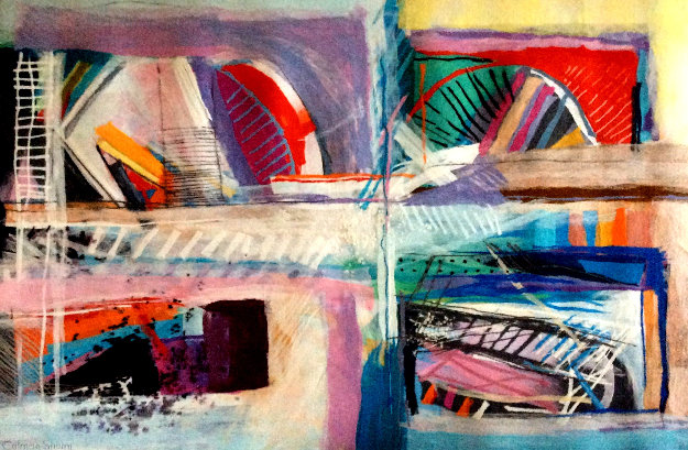 Tilted Bridge Tapestry 2005 71x50 by Calman Shemi