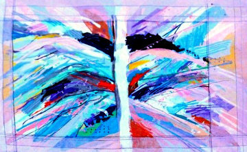 Symmetry #4 Tapestry 1987 58x84 Tapestry by Calman Shemi