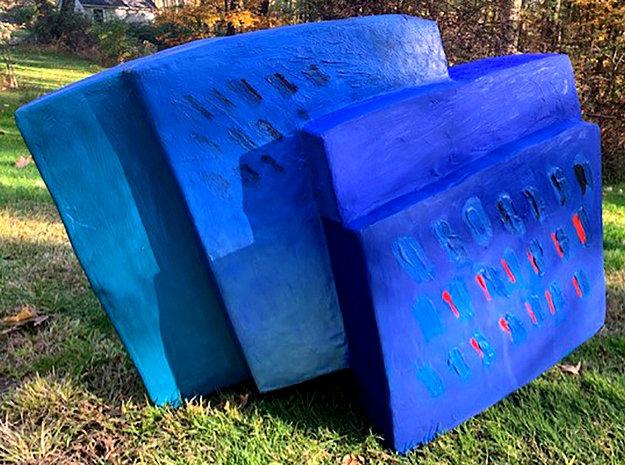 Dinamics Squaris Plaster and Wood Sculpture 37 in Sculpture by Calman Shemi