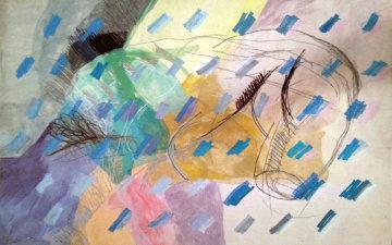 Veiled Orgasm Tapestry 1987 55x77 Tapestry by Calman Shemi