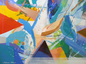 Conception 1990 50x50 Huge Original Painting - Calman Shemi