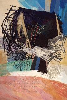 Pink Fields #4 1989 80x54 Original Painting - Calman Shemi