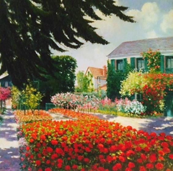 Les Geraniums Rouges 44x44 Original Painting by Claude Cambour