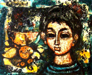 Untitled (Boy With Still Life) 25x31 Original Painting - Enrico Campagnola
