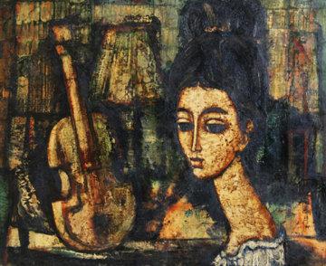 Femme Avec Guitare 20x24 Original Painting - Enrico Campagnola