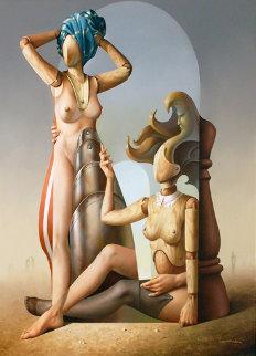 Las Cortesanas Metafisicas 1994 35x31 Original Painting - Vito Campanella