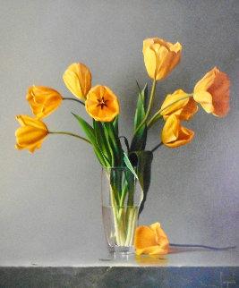 Tulipani Gialli 2011 34x30 Original Painting - Dario Campanile