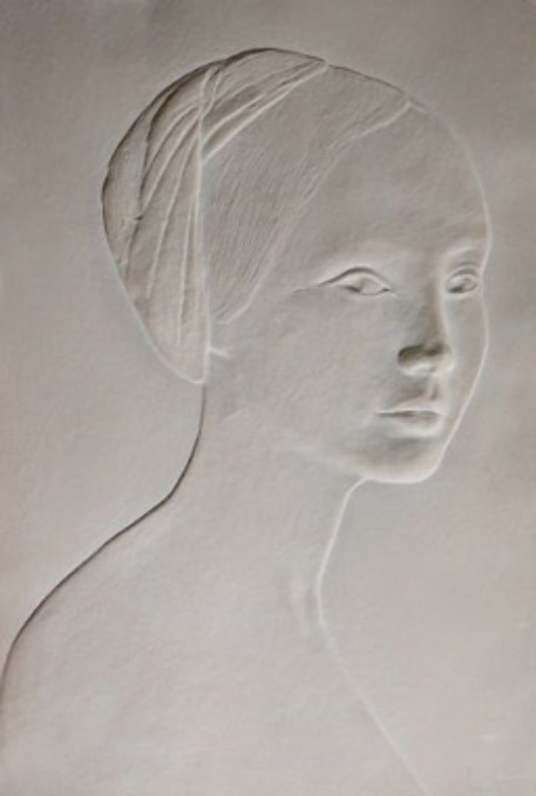 Portrait of a Young Girl Cast Paper Bas Relief Sculpture 1985 Sculpture by Dario Campanile