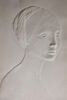 Portrait of a Young Girl Cast Paper Bas Relief Sculpture 1985 Sculpture - Dario Campanile
