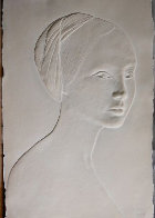 Portrait of a Young Girl Cast Paper Bas Relief Sculpture 1985 Sculpture by Dario Campanile - 1