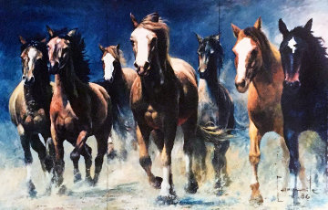 Galappo Triptych 1986 89x65 Mural  Huge Original Painting - Dario Campanile