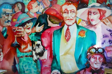 Freddie At the Races Watercolor 1987 30x44 Watercolor - Sandra Jones Campbell