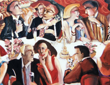 Dinner Party 2003 49x97 Original Painting - Sandra Jones Campbell