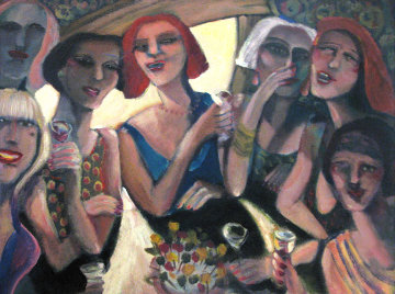Kocktails with the Kappa Kappa Ki's  2001 Original Painting - Sandra Jones Campbell