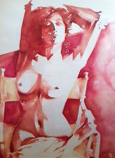Sunbather Watercolor 1985 44x35 Super Huge  Watercolor - Sandra Jones Campbell