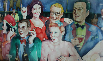 Drinks At the Club  Watercolor 1987 41x54 Watercolor - Sandra Jones Campbell