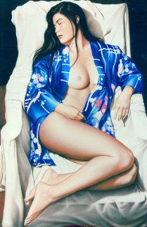 Blue Kimono 1994 66x46 Super Huge Watercolor - Edson Campos