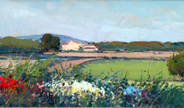 Summer Lanscape 9x40 Original Painting by Rosa Canto