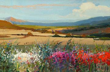 Landscape 12x31 Original Painting - Rosa Canto