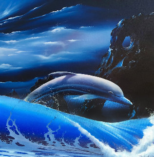 Dolphin 1991 32x32 Original Painting - Tim Cantor