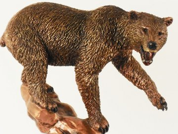 Salmon Supper Resin and Bronze 1994 11 in Sculpture - Kitty Cantrell