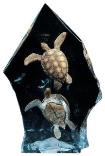 Intrepid Spirit: Turtles Bronze Sculpture 10 in Sculpture by Kitty Cantrell