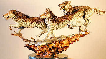 Yellowstone Bound Bronze Sculpture 1992 Wolves  12 in Sculpture by Kitty Cantrell