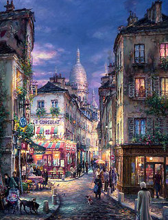A Stroll in Montmartre 2009 Embellished Limited Edition Print by Cao Yong