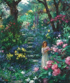 Purple Garden 2000 30x24 Original Painting - Cao Yong