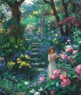 Purple Garden 2000 30x24 Original Painting by Cao Yong