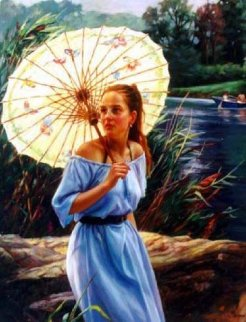 Butterfly Umbrella 2001 40x30 Original Painting by Cao Yong