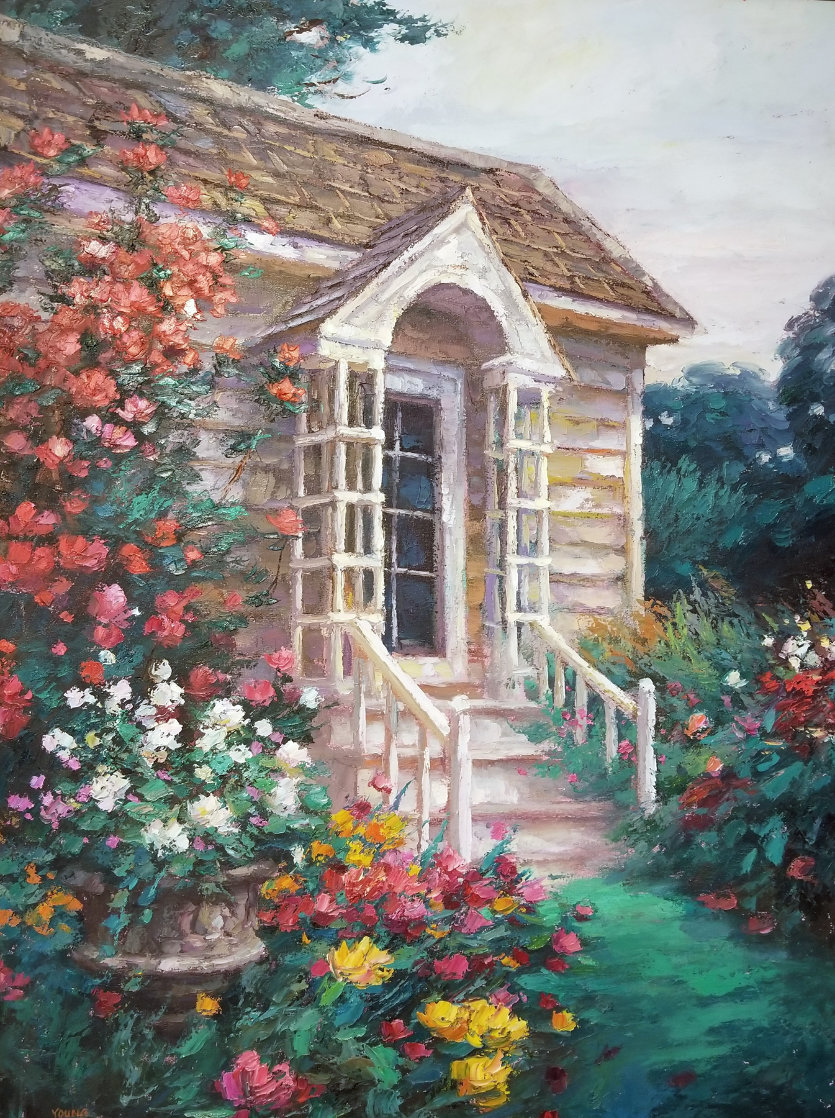 Cottage Entrance 1996 40x30 Super Huge Original Painting by Cao Yong