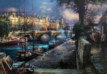 Banks of La Seine Embellished Limited Edition Print by Cao Yong