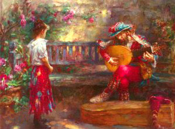Girl With Musician 2003 Embellished   Limited Edition Print - Cao Yong