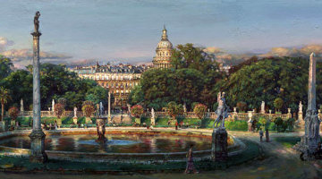 Luxembourg Garden AP Embellished - Huge 18x54 Limited Edition Print - Cao Yong
