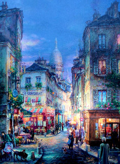Stroll in Montmarte AP Embellished with remarque Limited Edition Print - Cao Yong