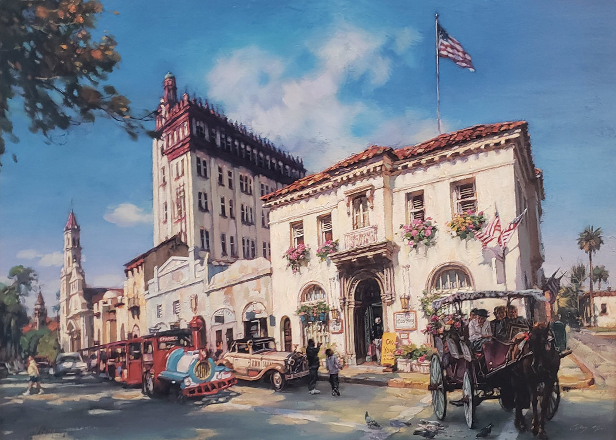 Life in St. Augustine, Florida AP Embellished Limited Edition Print by Cao Yong