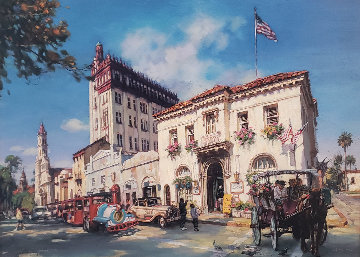 Life in St. Augustine, Florida AP Embellished Limited Edition Print - Cao Yong