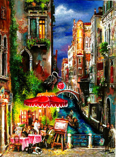 Red Umbrella Embellished Limited Edition Print - Cao Yong