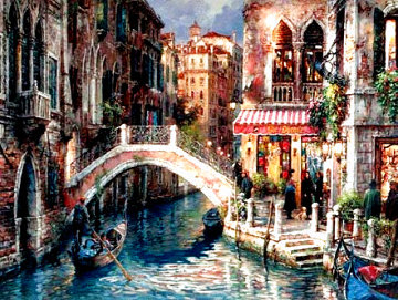 Over the Bridge Embellished Limited Edition Print - Cao Yong