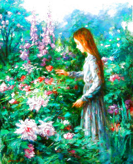 Flower Girl 1993 30x24 Original Painting - Cao Yong
