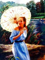 Butterfly Umbrella 40x30 Huge Original Painting by Cao Yong - 1